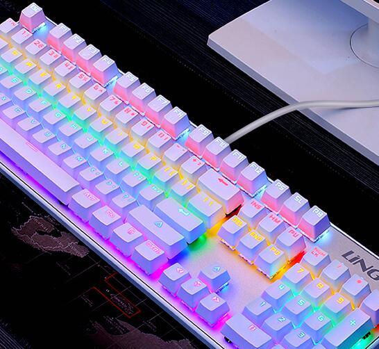 computer, usb - kabel - tv - baggrundsbelysning selvlysende spil metal grønne skaft sort skakt 104 nøgler. en mekanisk tastatur