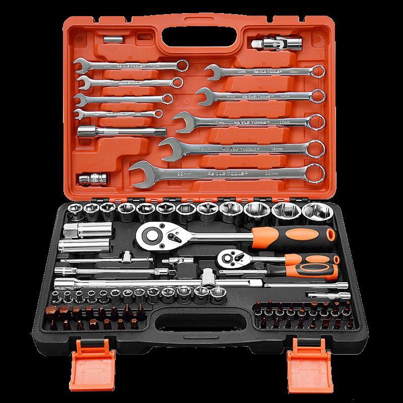 Car toolbox open door, car washing tool, fast 27 tool cart, push torque wrench set open