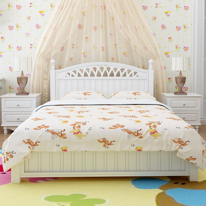 Pure solid wooden bed 1.8 meters pine economic type white princess bed children bed single bed 1.5 meters special offer