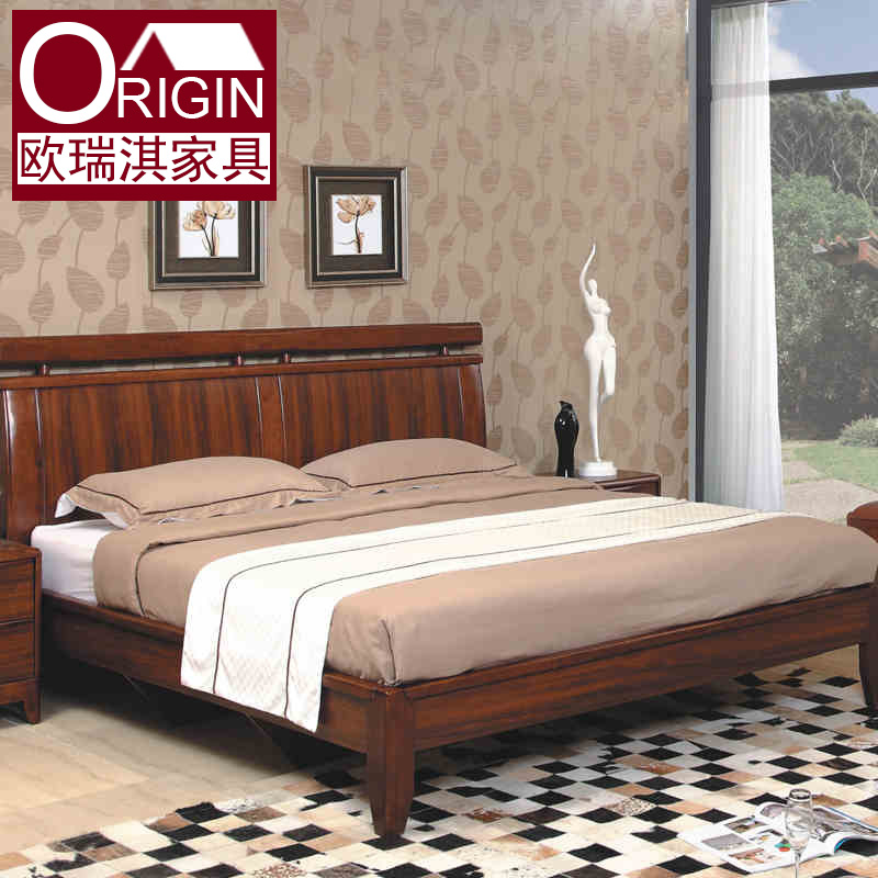 Modern simple solid wood bed mail, new Chinese wood 1.8 meters double bed, oak bed, wedding bed special package