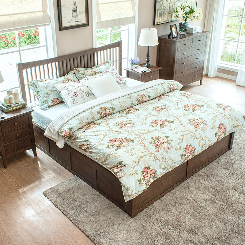 Woodworking square oak bed double bed 1.5 meters 1.8 meters hydraulic pneumatic pure solid wood environmental storage high box bed
