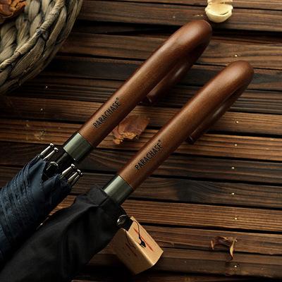 PARACHASE创意复古实木弯钩长杆伞全纤维防风超大伞男士商务雨伞
