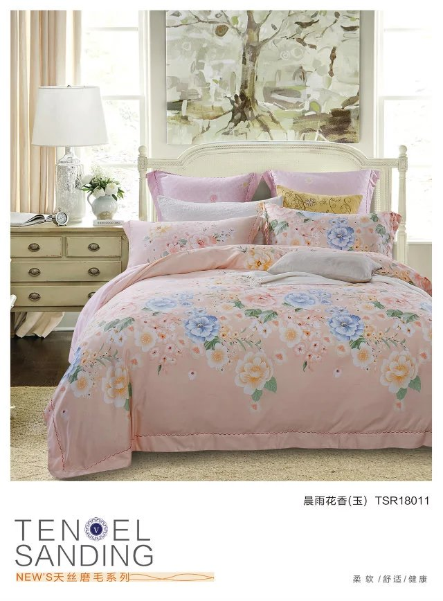 Direct selling bedding 60 double-sided sheet type genuine super soft warm cashmere Tencel sanding stand four piece Chenyu floral jade