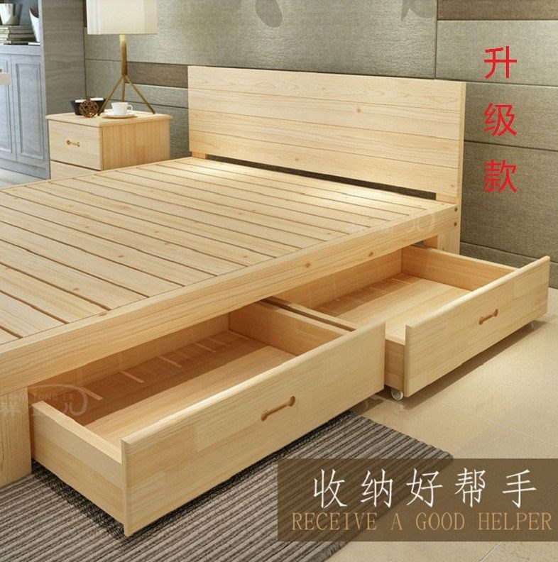 Simple solid wood bed double bed 1.8m large bed storage bed 1.5m adult bed 1.35 pine bed 1.2m