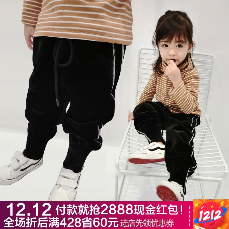 儿童冬装女宝宝休闲萝卜裤银狐绒双层加厚黑色运动裤女童加绒裤子