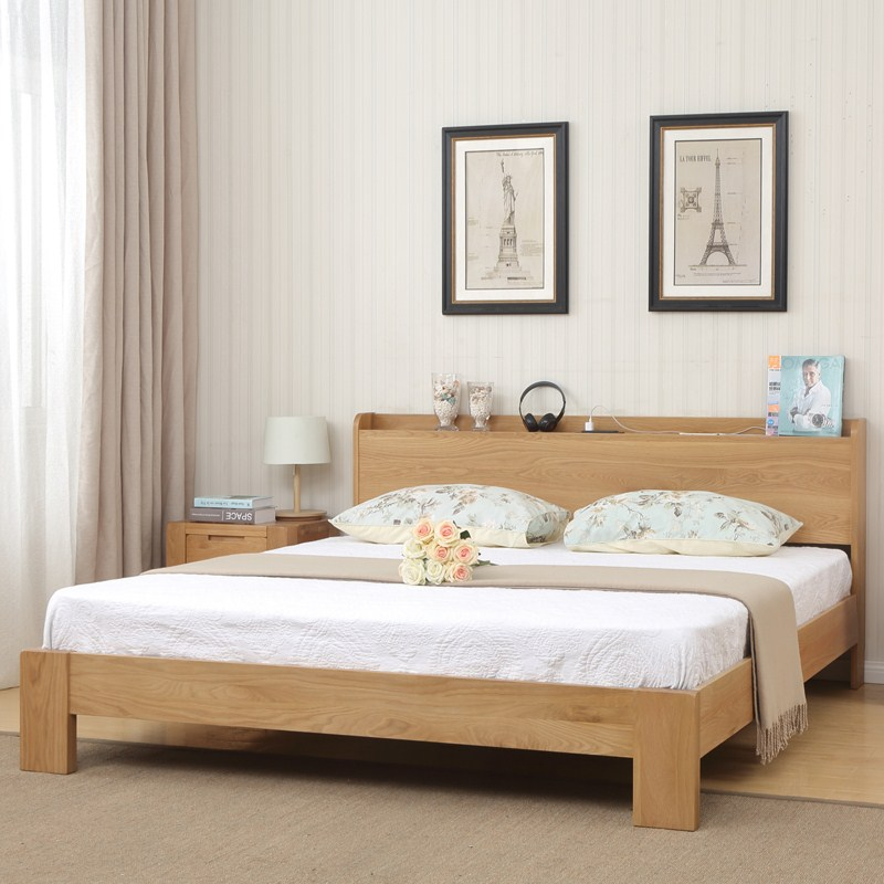 Pure solid wooden logs color 1.5m double bed single bed 1.8 meters marriage bed children bed Nordic bedroom furniture