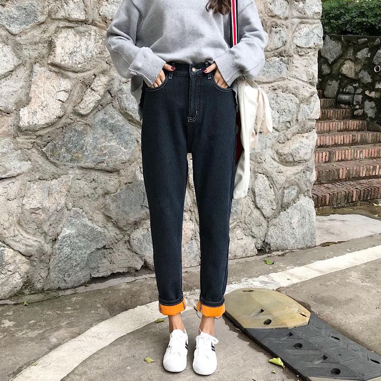 2017新款韩版黑色加厚加绒保暖牛仔裤女高腰冬季宽松直筒裤哈伦裤