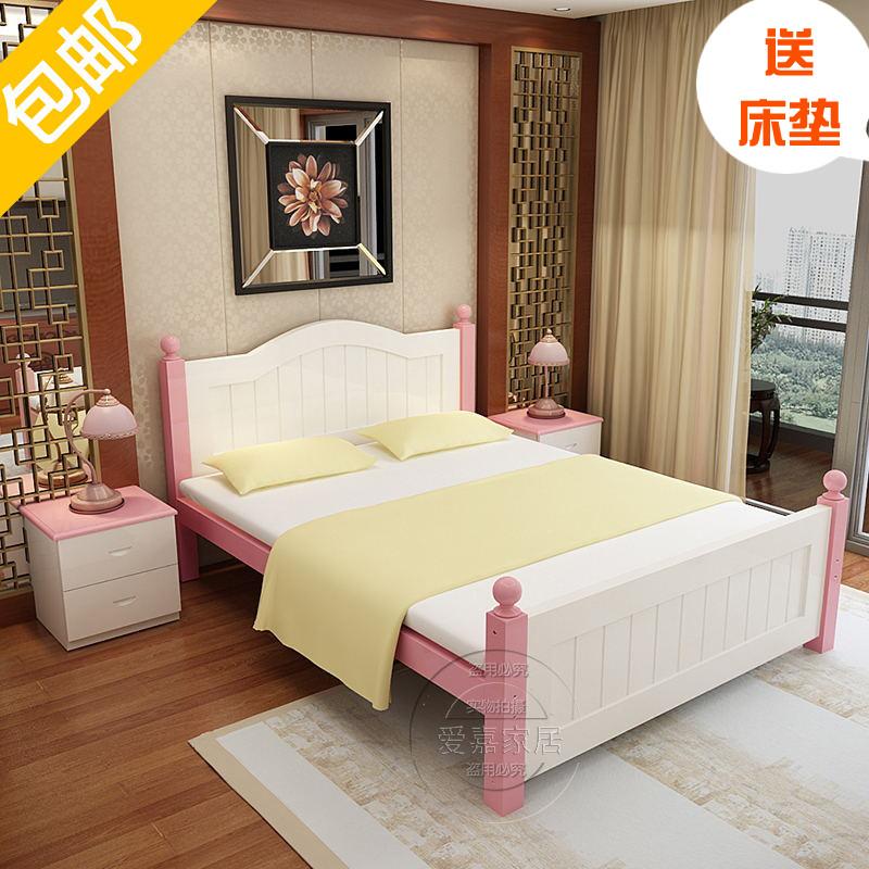 Solid wood bed modern minimalist 1.2 meter single double 1.8M economic type rental housing pine tatami 1.5mi