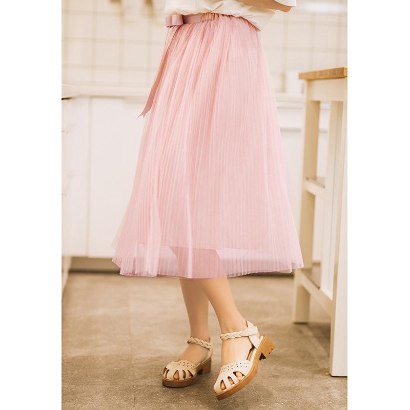 Váy/Váy chữ A nữ dáng dài chất liệu lưới dễ kết hợp phù hợp cho mùa hè phong cách ngọt ngào mẫu mới nhất