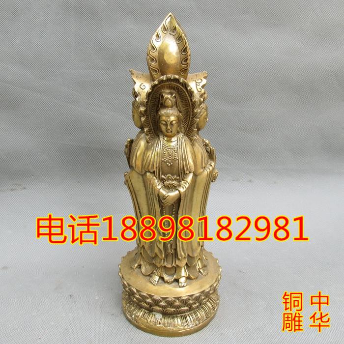 銅四面觀音擺件純銅四面佛觀音菩薩家居風水工藝品銅觀音佛像