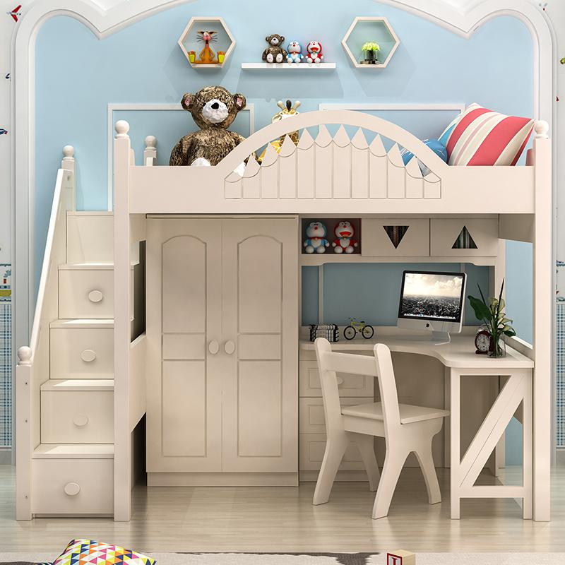 童心の歌韓式田園の児童の高低のベッドはデスクのクローゼットが離床の多い機能の家具の組み合わせベッド