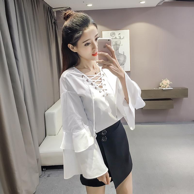春装新款韩版套头系带V领喇叭袖白衬衫女长袖上衣