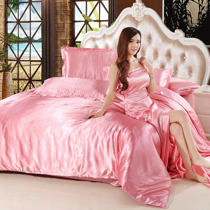 Tencel four sets of four sets of 1.5 spring and summer ice silk silk quilt on the bed sheets 1.8