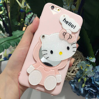Cute cat flash powder KT mirror vivo X9 mobile phone shell X9 cartoon strap female package soft silicone protective cover
