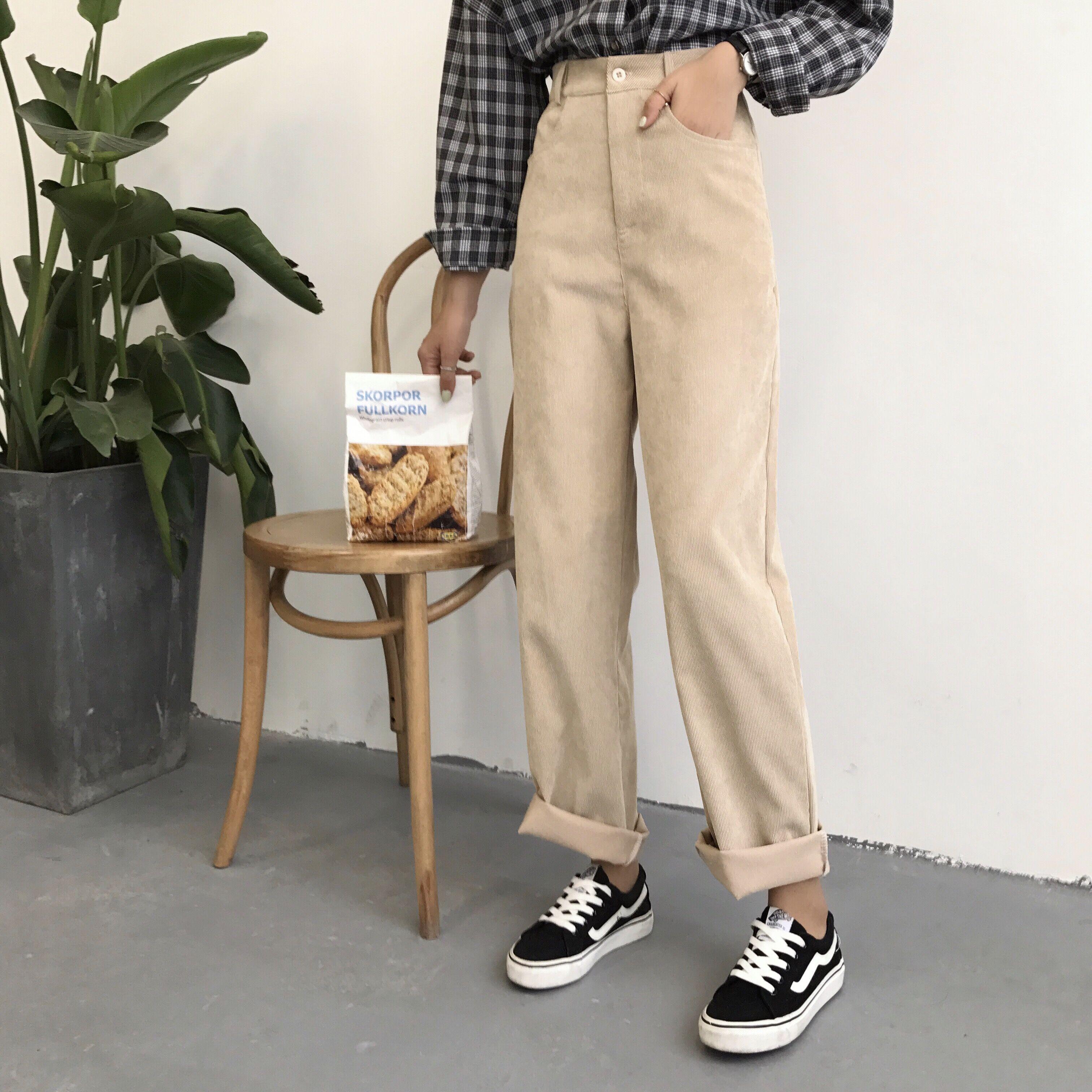 韩国ulzzang复古简约纯色高腰灯芯绒水手风直筒裤阔腿休闲长裤女