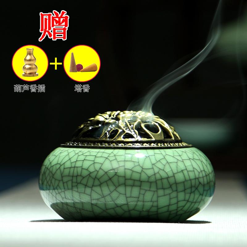 селадон Ароматерапия печь с старинные керамические Будда небольшой кадило ладан фимиам алой кадильницу сандалового дерева