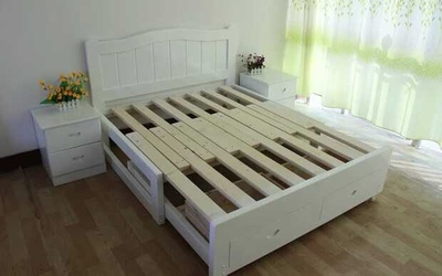 Wrapped pine double bed adult children solid wood bed storage box can stretch 1.2 solid wood bed 1.5