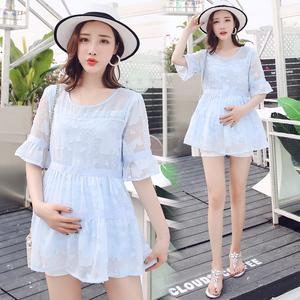 339#夏装套装时尚款2018新款韩版短袖雪纺怀孕上衣夏季潮妈两件套