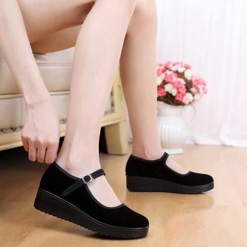 新款老北京布鞋女鞋单鞋平底跳舞鞋防滑松糕厚底上班工作鞋黑布鞋
