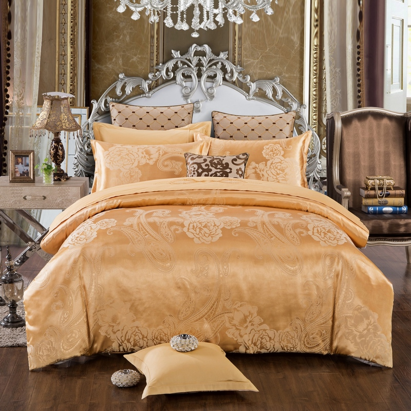 Marriage celebrate European Pure Cotton Satin Jacquard AB cotton and Cathy double four sets a variety of bedding