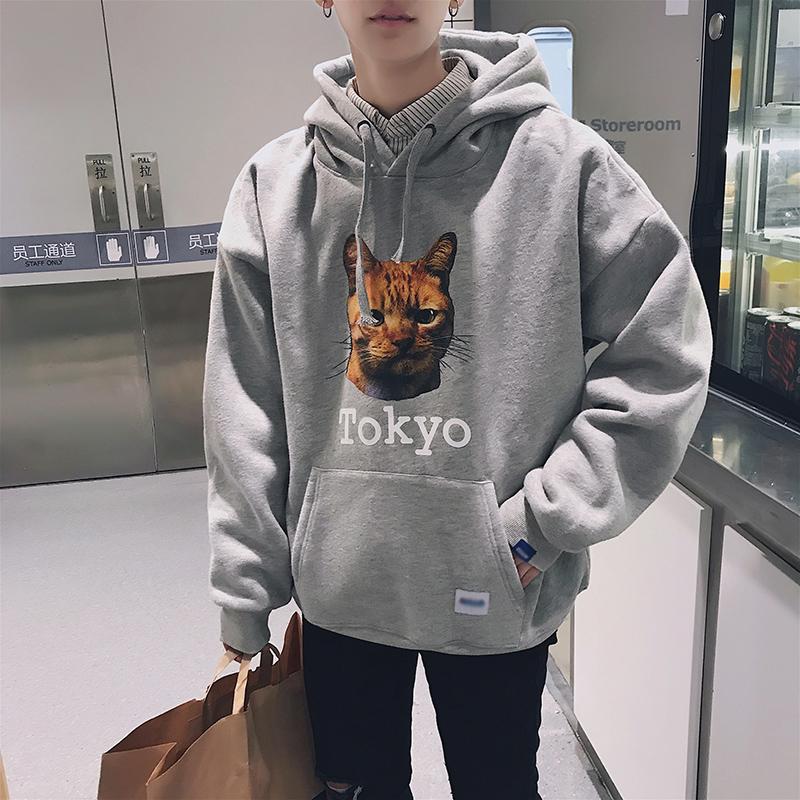 @港仔文艺男 bf风韩版潮流男士卫衣冬季连帽加绒加厚学生运动外套