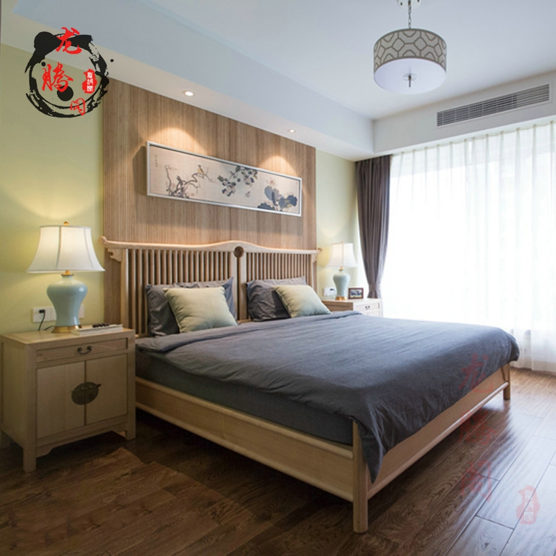 New Chinese style modern solid wood 1.8 bed villa clubhouse, master bedroom double simple bed Furniture Customization