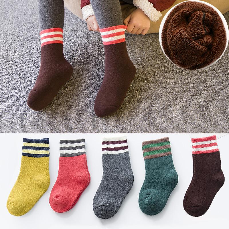 儿童纯棉袜子秋冬款1-3-5-7-9-10岁中大童男童女童加绒加厚宝宝袜