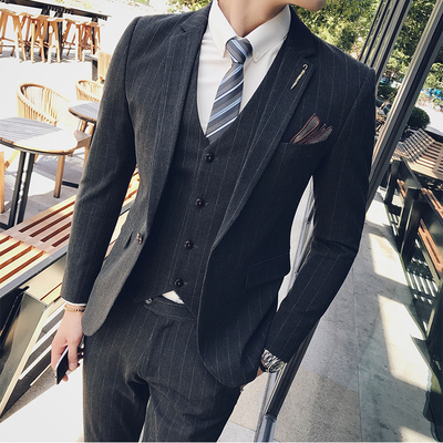 Men's Suits Korean version of a self-cultivation set of British style youth handsome groom wedding suit