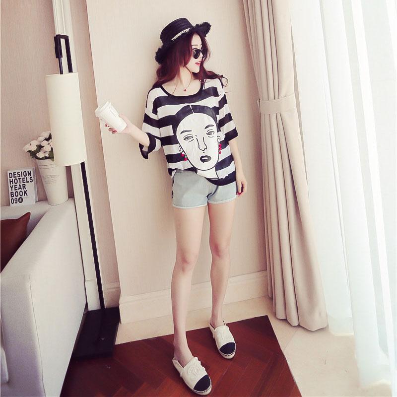 2017夏季新款韩版圆领薄款冰丝针织衫条纹胶印人像
