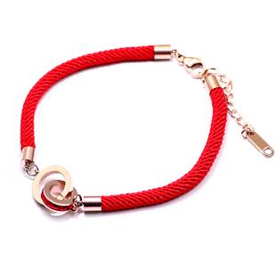 愿望本命年红绳红色手链女抖音转运钛钢手绳手工编织绳网红不掉色