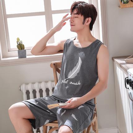 夏季睡衣男背心短裤韩版纯棉无袖薄款青年全棉短袖大码家居服套装