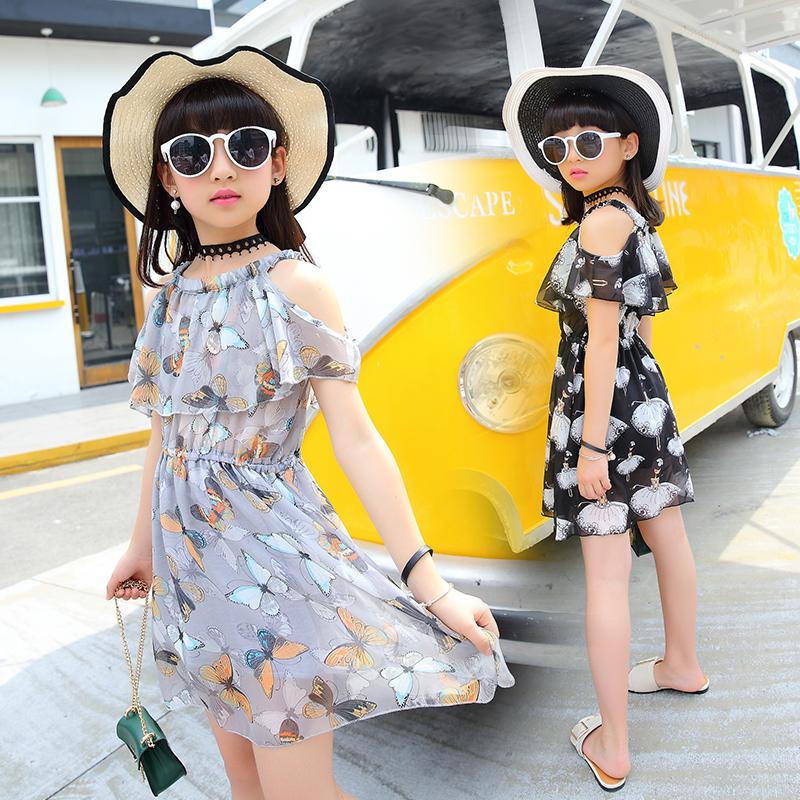 童装女童吊带裙夏装2017新款夏季1378女孩装儿童雪纺连衣裙子夏
