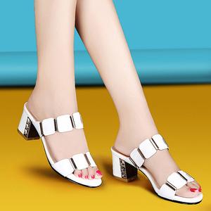 夏季凉鞋女鞋2018新款韩版时尚百搭中跟真皮粗跟一字拖女士凉拖鞋