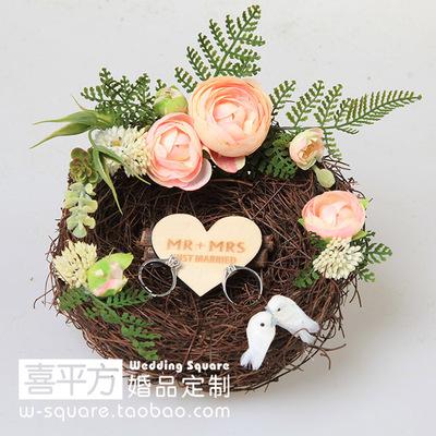 【喜平方】粉色茶花爱巢戒枕/手工森系森林多肉婚礼戒枕戒托定制