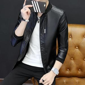 花花公子贵宾男士外套秋季新款皮衣韩版修身款立领PU皮夹克青年