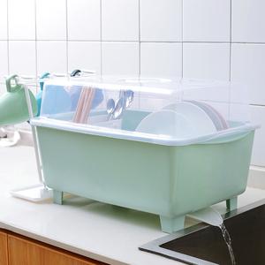 带盖家用简易碗柜厨房用品沥水碗碟架抽屉式晾放碗筷收纳盒置物架
