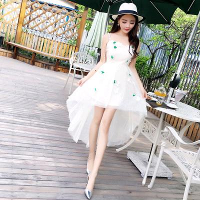 清纯YY网络直播 美女主播上镜衣服装 夏天 性感礼服 吊带连衣裙子