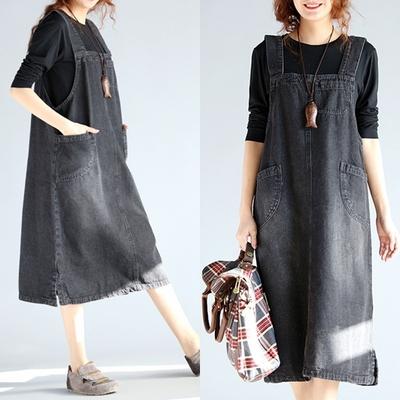 Plus Size Dress female strap dress long A slim denim dress