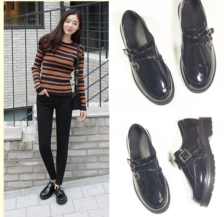 韓國ulzzang林允兒同款鞋英倫風小皮鞋圓頭搭扣厚底單鞋漆皮女鞋
