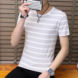 條紋短袖t恤男士打底衫半袖潮韓版上衣修身衣服夏季 阿杰 6606#