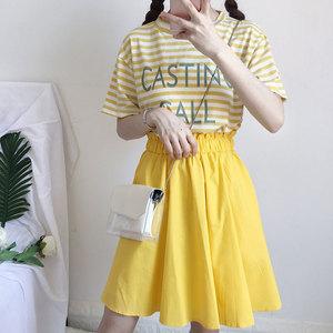2018新款夏季女装韩版学生宽松日系清新条纹拼接假两件短袖连衣裙