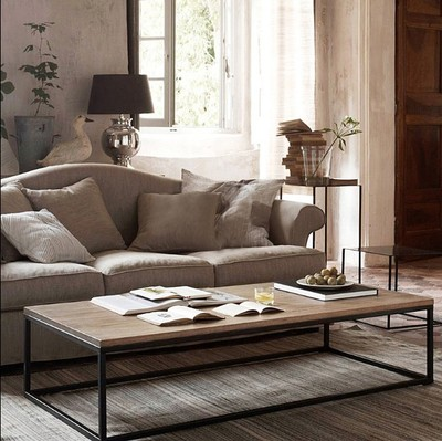 Tea Table Modern minimalist coffee table solid wood American country retro old wrought iron Nordic rectangular