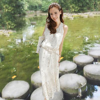 吊带裙夏新款泰国波西米亚长裙显瘦沙滩裙海边度假白色连衣裙仙裙