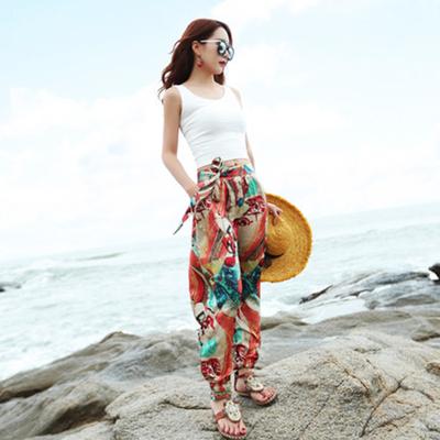 17春夏新款波西米亚裤子女海边度假沙滩长裤碎花休闲裤旅游印花裤
