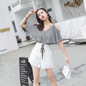 2018夏季韓版寬松休閑兩件套女吊帶露肩上衣氣質闊腿褲時髦套裝女