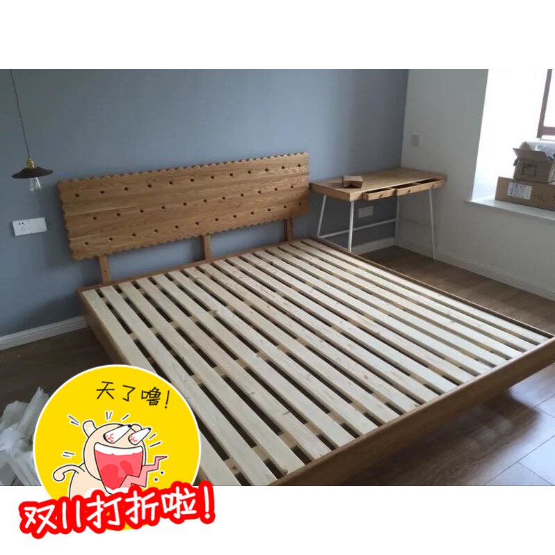 Take off furniture, Japanese white oak biscuit, creative children's solid wood bed, simple double solid wood bed can be customized