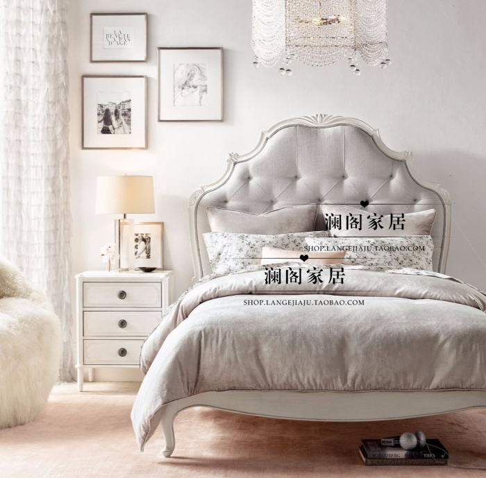All solid wood bed, American country carved double bed, modern simple cloth, soft princess bed, child bed, single bed