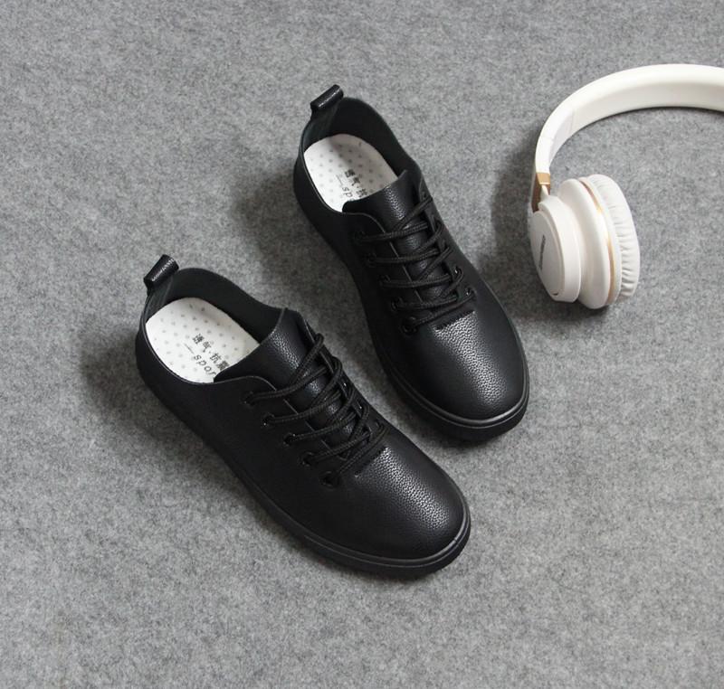 肯德基工作鞋女黑色皮鞋平底防滑軟底低幫單鞋純黑平跟舒適上班鞋