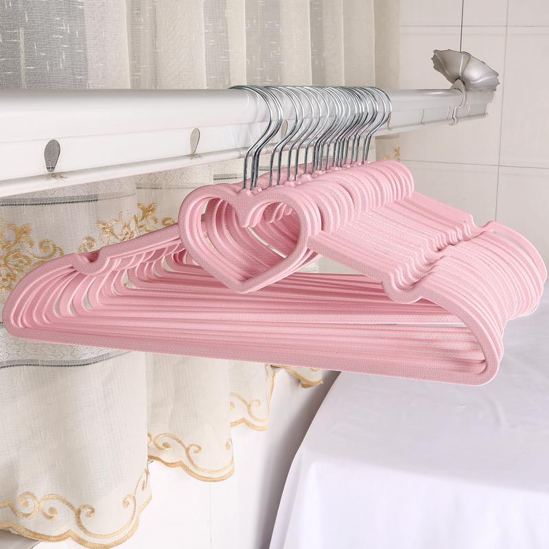 少女心粉色心形蝴蝶结塑料衣架 创意学生宿舍晒衣架 可爱防滑衣撑