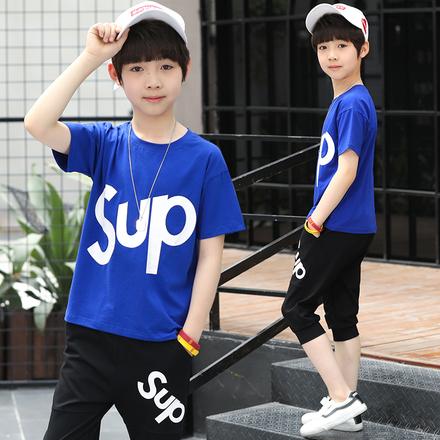 男童套装中大童韩版潮流套装纯棉2019时尚运动男孩短袖短裤两件套